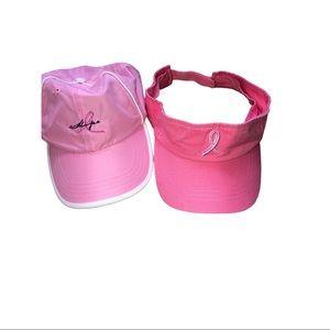 2- 1 hat & 1 visor: both Velcro adjustable, pink